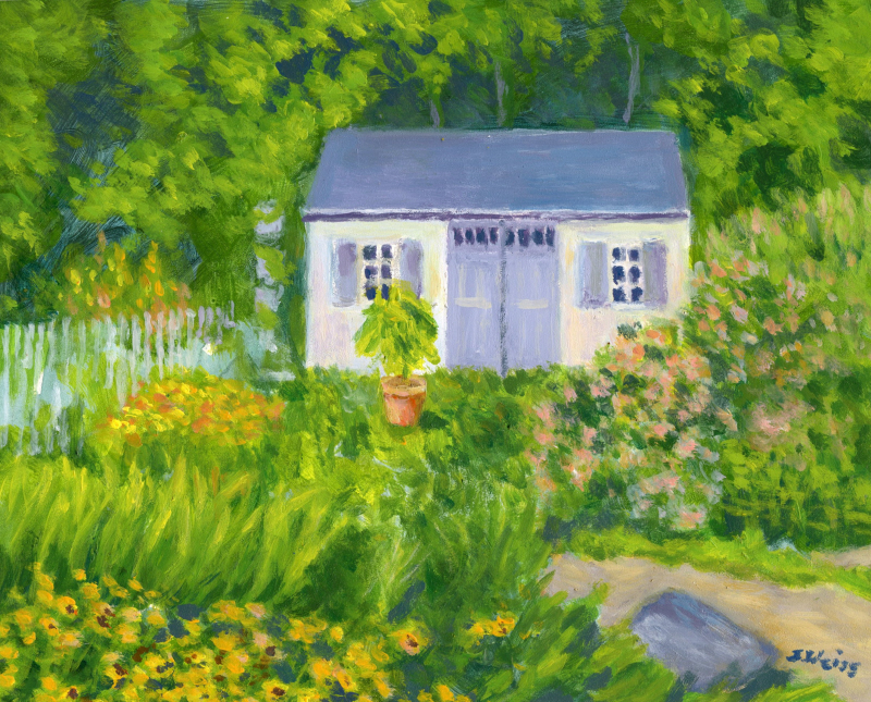 painting of a house in a garden